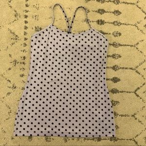 Lululemon y flow tank built in bra polka dot
